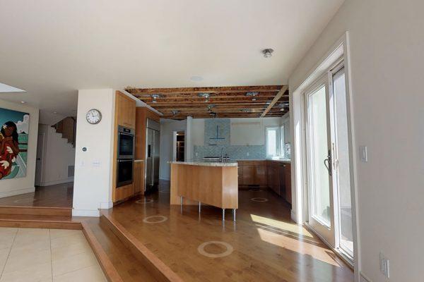 Kitchen and hallway to the front door.