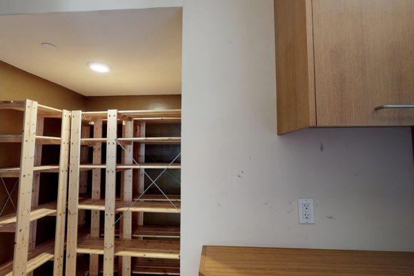 Laundry room storage area.