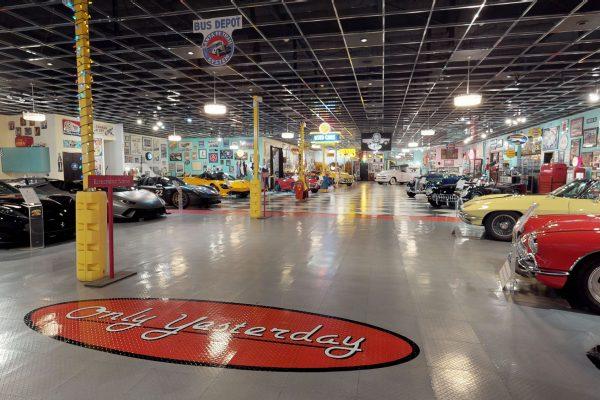 An indoor car show.