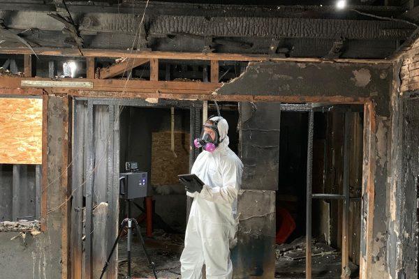 Contruction work after a fire.