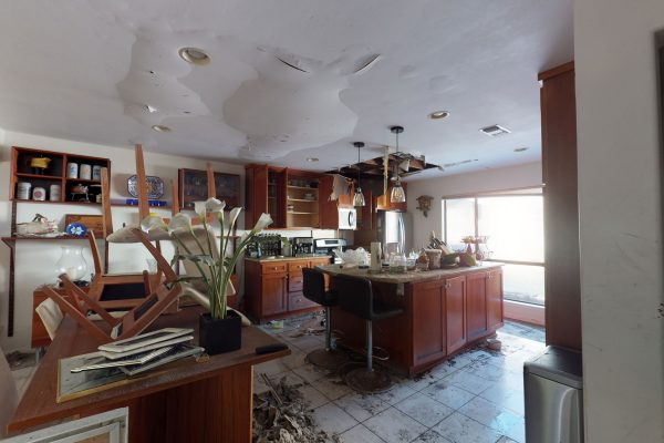 Showing interior of kitchen with major water damage